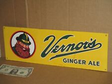 VERNOR'S GINGER ALE Tin Metal Sign -Shows a Guy With Beard -STILL GOOD Some Rust