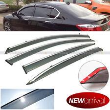 Fit 13-16 Accord 4dr Tinted Chrome Trim Window Visor Vent Shade Sun Rain Guard