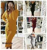 Womens Slim Knitted Tops Chunky Dress Party Sexy Jersey Lightweight Button