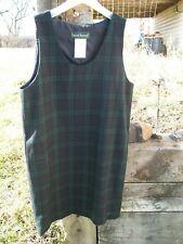 Harve Benard  100% Wool Jumper Dress Lined Navy/Green Plaid Sleeveless Sz 10 NEW