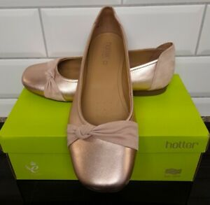 Hotter Sylvie Leather Suede Rose Gold Slip On Shoes Size 9 STD Worn Once