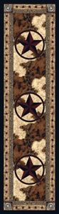 """Ranger Hideout Western Lone Star Country Cabin Rustic Nylon Rug 2'1"""" x 7'8"""""""