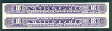 US #RJA68a  18¢ Narcotic Tax, Pair, no gum as issued, VF