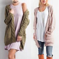 Retro Open Women's Front Chunky Warm Cardigans  Cozy Sweater Fashion Long Sleeve