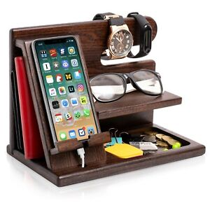 Wood Phone Docking Station Ash Solid Key Wallet Watch Holder Organizer