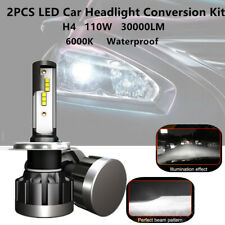 Pair H4 LED Car SUV Headlight Conversion Bulb 110W 30000LM Beam White 6000K IP68