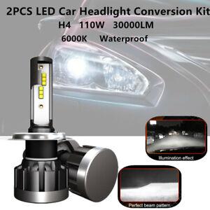 Pair H4 LED Car SUV Headlight Conversion Bulb 110W 30000LM Beam White 6000K IP68
