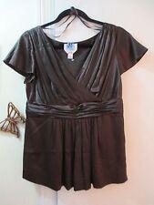 Talbots Petites - Brown Cross Over V-neckline Empire Waist Blouse - Size 8P