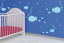 FAT FISH BUBBLES & STARS VINYL WALL DECALS NURSERY BABYS ROOM MANY COLORS CUSTOM