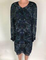 Cabi Womens Dress Noel Eternity Damask Blue Floral Lace Up Long Sleeve 3339 Sz L