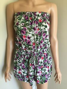 SEAFOLLY Floral Print Strapless Playsuit - Size S