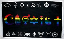 Rainbow Coexist Flag 3' X 5' Indoor Outdoor Multi-Color Gay Pride Banner