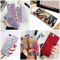Bling Glitter Pink Girly Phone Case Protective Covers For iPhone XS X 7 8 Plus