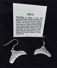 "Northwest Coast Native ""ORCA"" Sterling Silver EARRINGS !!"