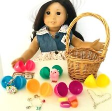 """Easter Basket for American Girl Doll 18"""" Accessories Fit Set 6 Filled Egg Hunt"""