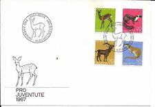 SWITZERLAND F.D.C. 1/12/1967 PRO JUVENTUTE SGJ217/20 WOODLAND ANIMALS.