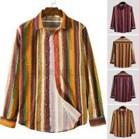 Retro Mens Casual Shirt Linen Cotton Loose Collar Neck Long Sleeve Blouses Tops