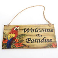 Fashion Wall Door Hanging Wooden Welcome To Paradise Sign Plaque Board Decor
