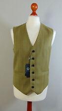 VIYELLA Mens Green 100% Wool Waistcoat Herringbone Pattern NEW