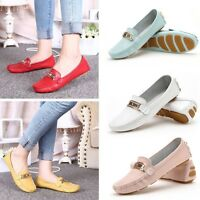New Women Summer Casual Flat Shoes Loafers Leather Slip On Ballet Flats Sandals