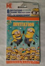 Despicable Me Minion 8 Invitations & Thank You Post Cards Birthday Party Minions
