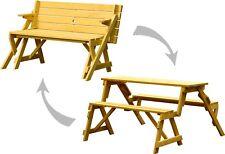 2-in-1 Gartenbank & Picknick-Tisch Kombination Sitzbank Holzbank Parkbank