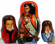 5pcs. Hand Made Russian Nesting Doll of Elvis Presley (4.25 inches tall)