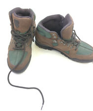 K-Swiss Hiking Boots Women's 7 Brown Leather Black Fabric Vintage Trail Shoes