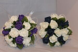 WEDDING BRIDES BRIDESMAIDS BOUQUETS SPARKLY GLITTER PURPLE IVORY LOTS OF COLOURS