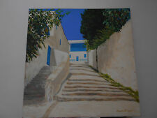 "Painting: original acrylic on canvas (Susan McClure) ""Sidi Bou Said Tunisia III"""