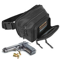Black Genuine Leather Concealed Carry Weapon Fanny Pack Pistol Gun Waist Bag CCW