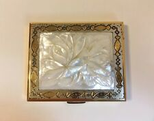 Vintage Powder Compact Mirror Carved Flower Mother of Pearl Case Box Gold Silver