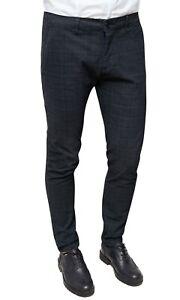 Pantaloni uomo Diamond casual nero quadri slim fit Principe di Galles da 42 a 54