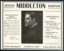 1918 Arthur Middleton photo opera singing recital tour booking print ad