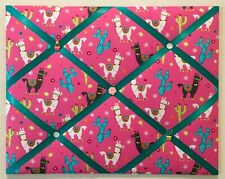 Llama Pink Fabric French Memo Board Animal French Memory Board Alpaca Cactus New