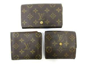 Authentic 3 Item Set LOUIS VUITTON Monogram Wallet PVC Leather 94690