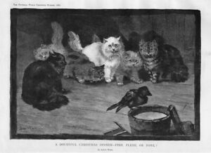 LOUIS WAIN CATS LOOKING AT BIRD A DOUBTFUL CHRISTMAS DINNER - FISH FLESH OR FOWL