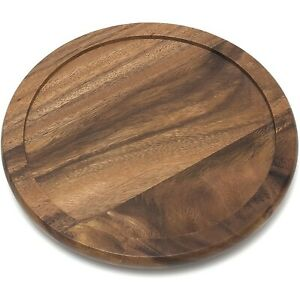 Wooden Lazy Susan Kitchen Turntable Wood Serving Tray Decorative Platter Round