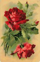 Postcard Red Roses Embossed