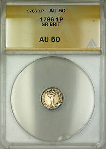 1788 Great Britain Silver Penny 1P Coin ANACS AU-50