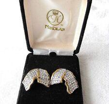 Vintage Fancy Nikolas NIB with Card Pierced Earrings Gold Metal Pave Rhinestones