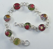 """925 sterling silver round bracelet with real flowers 7 3/4"""" long"""