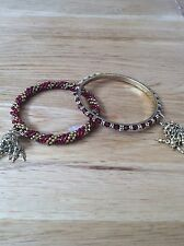 Pair Of Indian Style Braclets. Burgundy/Gold.