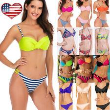 Swimwear Bikini Set Bathing Suits Beachwear Padded Bra Thong Bottom Swimsuit LB