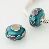 925 Sterling SILVER & Turquoise & Pink Enamel HEART BEAD Fits CHARM BRACELET