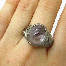 Vtg Europe 835 Silver Real Clear Moonstone Gem Wide Ring Size 10