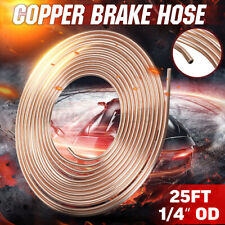 "25ft Foot 1/4"" Coil Roll Copper Steel Nickel Brake Line Pipe Tubing Kit Fittings"