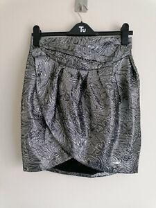 Isabel Marant pour H&M Wool Silk Blend Silver Metallic Tulip Skirt Eur 38 UK 10