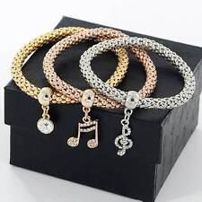 Crystal Rhinestone Bangle Musical Note Bracelet 3Pcs Hot Sale Women Lady Jewelry
