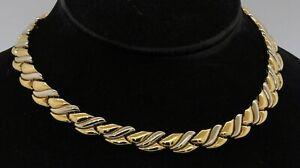 "Chimento heavy 18K 2-tone gold beautiful 16"" long/13mm wide fancy link necklace"